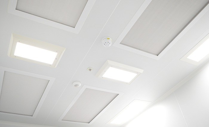 LED lighting and HEPA filtration with in-duct UV disinfection